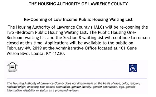 RE-OPENING OF LOW INCOME HOUSING WAITING LIST ANNOUNCED IN LAWRENCE